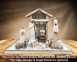 STABLE for NATIVITY *Distressed REAL Wood Stables *Manger & Angel Stand (optional) *Creche fits Willow Tree Angels (not included) *Green Burgundy Antique White *No Assembly *Made in USA **SALE**