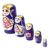 Matushka - TOOGOO(R) 5x Matroshka Babuschka Matryoshka Matushka Matyoshka Russian Wooden Doll Color: Purple