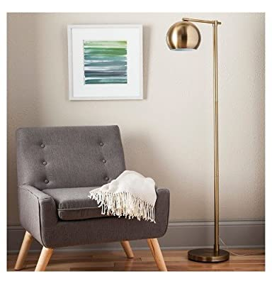 Floor Lamp in Brassy Gold with Thin Angled Stem and Modern Globe Decorative Style Dripping from the Arm by Threshold, Perfect for Bedroom or Living Room