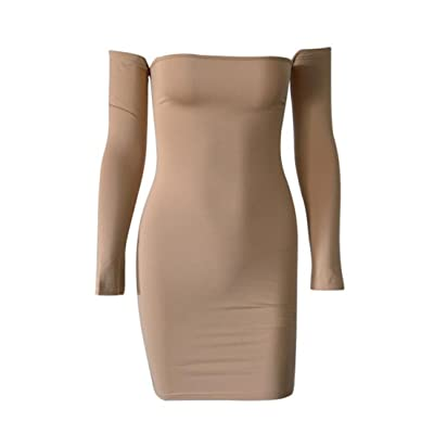 JSY Womens Back Criss Long Sleeve Solid Bodycon Off-Shoulder Club Dress