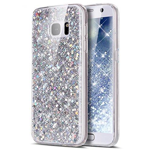 Galaxy S7 Edge Case,Galaxy S7 Edge Bling Glitter TPU Case,PHEZEN Shiny Sparkling Glitter Hexagonal Star Flexible Soft Rubber Gel Clear TPU Cases Silicone Back Case for Samsung Galaxy S7 Edge (Silver)