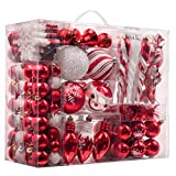 Valery Madelyn 155-Pack Traditional Red and White Shatterproof Christmas Ball Ornaments Decoration,Themed with Tree Skirt(Not Included)