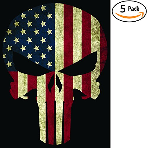 American Flag Punisher Skull Bumper Sticker 5 Pack, Made In The USA. Strong Vinyl 4x6 Inch Stickers for Toolboxes, Ammo Cans, Windows, Cars, Trucks, Motorcycles & More. Great Gift for Hard (4x4 Tool Box)