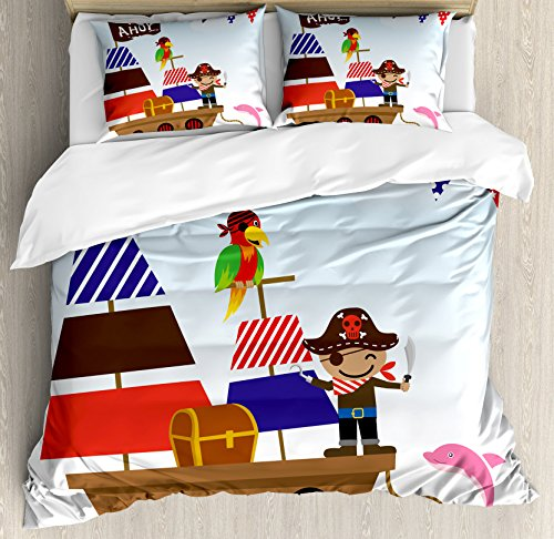 Ahoy Its a Boy Duvet Cover Set by Ambesonne, Cute Pirate Kids Treasure Chest with Ship on Ocean Background Illustration, 3 Piece Bedding Set with Pillow Shams, Queen / Full, Multicolor