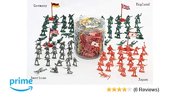 """200 Pcs 2/""""Figures Army Soldier PlaySet WWII Military 4 Flags USA England German"""