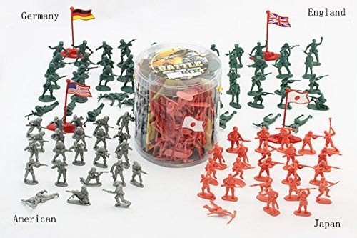 JIETENGFEI Army Action Figures.200 Piece Soldier Toys of World War 2.Army in 4 Colors with 4 Flags,America England Germany and Japan in A Bucket 6.3 in X 6.5 in (Best Small Army In The World)