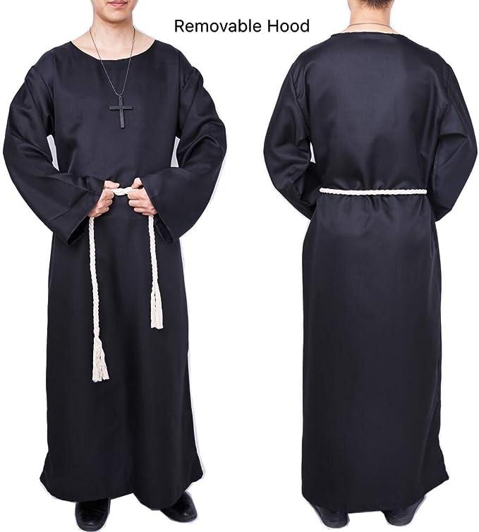 Men/'s rouge à capuche FRIAR TUCK Costume Halloween médiéval moine prêtre Fancy Robe