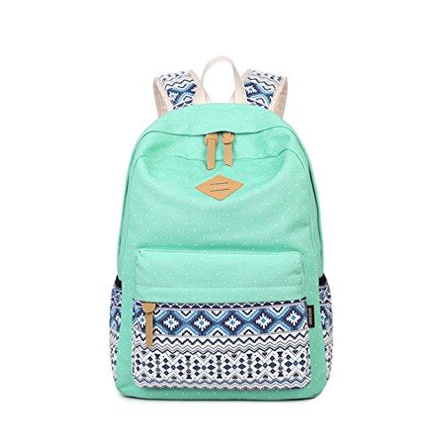 Leinwand drucken Frauen Schule Rucksäcke Rucksack Tasche für Mädchen im Teenageralter Vintage Laptop Rucksack weiblichen Schultasche logo green GnFPKN