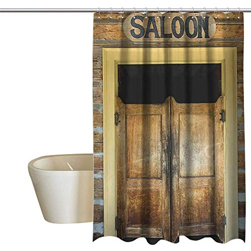 Saloon Decor Collection interdesign Shower Curtain Authentic Saloon Doors of Old Western Building in Montana Ghost Town Image Print goof Proof Shower W108 x L72 Sienna Cream Brown