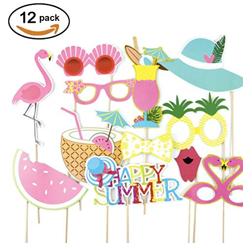 Summer Photo Booth Props Luau Party Supplies, Pack