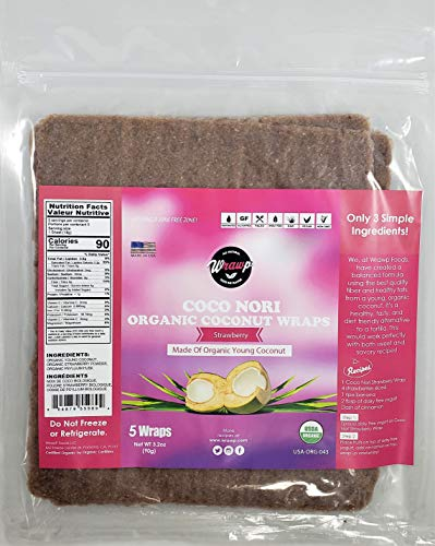 Organic Coconut Wraps, 2 Pack Coco Nori Strawberry (Raw, Vegan, Paleo, Gluten Free wraps) Made from young Thai Coconuts by Wrawp
