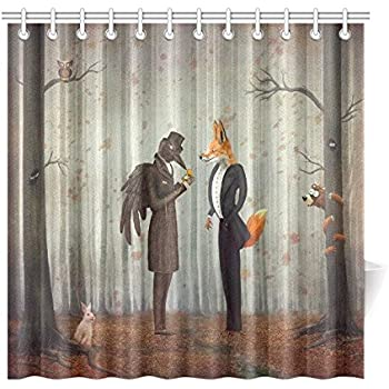 Attirant InterestPrint Home Bathroom Decor Forest Raven Fox Shower Curtain Hooks  72x72 Inch Orange Fabric Fairy