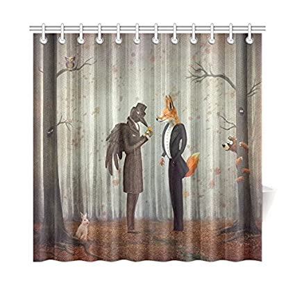 Exceptionnel InterestPrint Home Bathroom Decor Forest Raven Fox Shower Curtain Hooks  72x72 Inch Orange Fabric Fairy