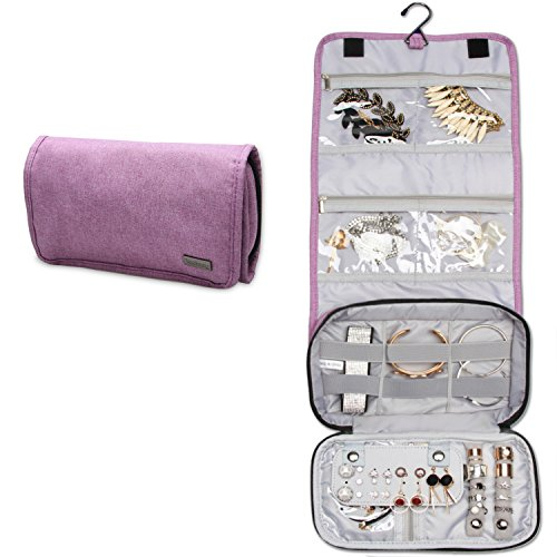 Teamoy Jewelry Roll Bag, Hanging Travel Jewelry Organizer Case with Multiple Compartments and Hooks for Rings, Necklaces, Earrings, Bracelets and More-NO Accessories Included, Purple