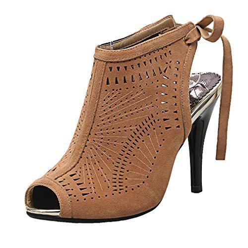 Peep Femmes de Haut Sandales Abricot UH Lacets Slingback et Suede Beaux Aiguille Toe Elegantes à Creux Talons TtqBdx
