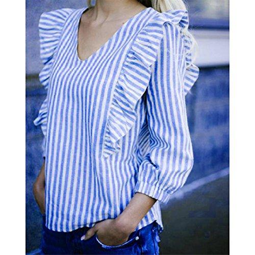 LHWY Damen Lose Langarm bedruckte Tops gestreiften lässige Bluse
