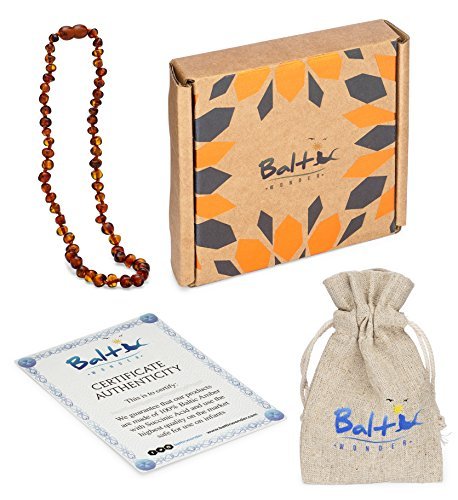Baltic Amber Teething Necklace For Babies (Unisex) (Cognac) - Anti Flammatory, Drooling & Teething Pain Reduce Properties - Natural Certificated Oval Baltic Jewelry with the Highest Quality Guaranteed by Baltic Wonder (Image #4)