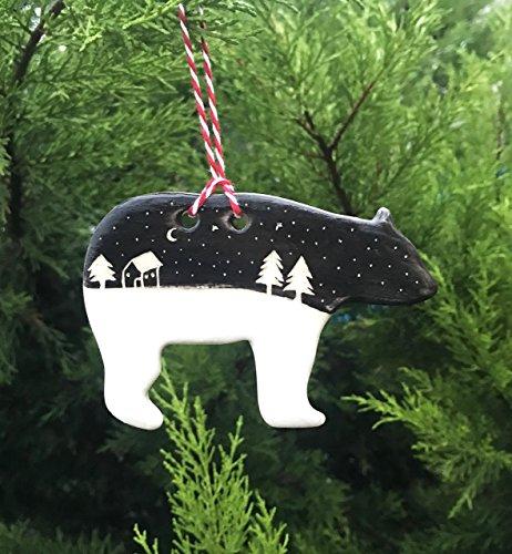 Handmade Ceramic Bear Ornament with Snowy Night Silhouette
