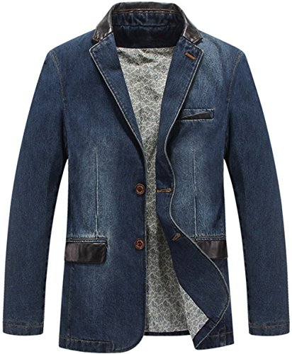 K3K Men's Denim Casual Washed cotton Slim Fit Sport Coat Suit Blazer Jackets