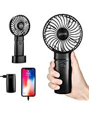 Handheld Fan Portable Electric Mini Hand Silent Quiet Fan with 4000mAh built-in Battery Detachable Desk Fan for Home Office and Public Places Black
