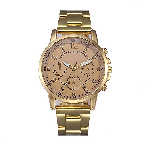 Mens Quartz Watches COOKI Men's Unique Analog Business Casual Fashion Stainless Steel Bracelet Analog Quartz Wrist Watch with Diamonds Round Dial Case and Stable Stainless Steel Band -X4 (Gold)
