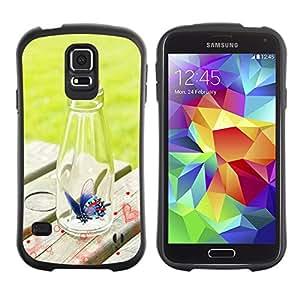 LASTONE PHONE CASE / Suave Silicona Caso Carcasa de Caucho Funda para Samsung Galaxy S5 SM-G900 / Design Butterfly Bottle