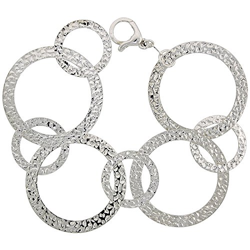 Sterling Hammered Oval Links (Sterling Silver Hammered Round Link Bracelet, 8 inches long)