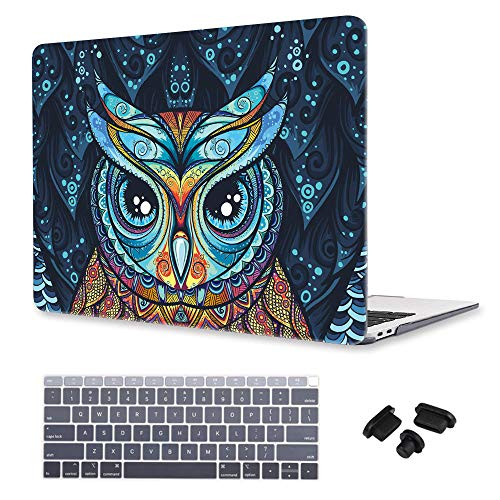 i-King MacBook Air 13 Inch Case (2010-2017 Release), Owl Pattern Crystal Hard Shell Case Only Compatible MacBook Air 13.3 inch (Model: A1466 & A1369), Keyboard Cover + Dust Plug - ()