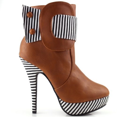 Show Story Tan Striped Button Zipper High Heel Stiletto Platform Ankle Boots,FZ30303BR39,8US,Tan (Striped Booties)