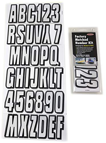 Hardline Products Series 320 Factory Matched 3-Inch Boat & PWC Registration Number Kit, Silver/Black