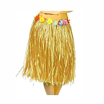 Falda Hawaiana Adulto Hula Natural (60 cm): Amazon.es: Juguetes y ...
