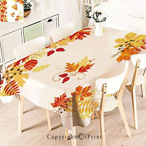 Elegant Tablecloth Waterproof Spillproof Polyester Fabric,Pattern Chestnut Oak Maple Leaves and Table Cover for Kitchen Dinning Tabletop Decoration,W55 xL83,Multicolor ()