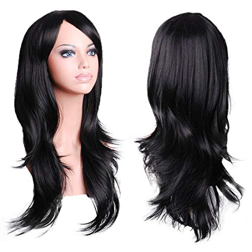 Wigood 28 Inch Black Cosplay Wig with Free Wig Cap and Comb for Women]()