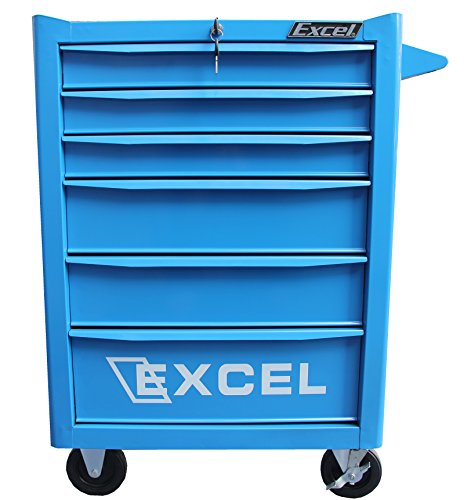 Excel 26 inch Roller cabinet with six ball bearing slide drawers, Blue 6 Drawer Ball Bearing Chest