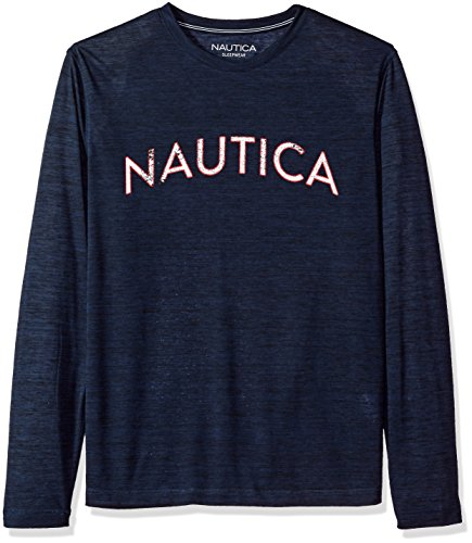 Nautica Men's Long Sleeve Graphic Sleep Tee, Navy, Medium
