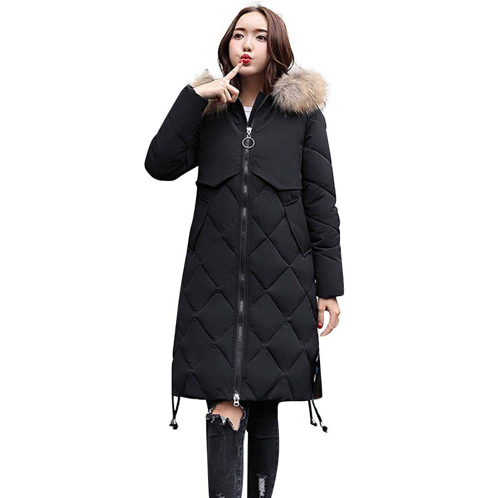 Qianful Womens Casual Warm Fur Collar Long Coat Hooded Slim Winter Parka Outwear Jacket Mid Length Outwear Coat Fashion Overcoat with Pocket by Qianful
