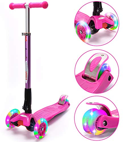 ChromeWheels Scooters for Kids, Deluxe Kick Scooter Foldable 4 Adjustable Height 150lb Weight Limit 3 Wheel, Lean to Steer LED Light Up Wheels, Best Gifts for Girls Boys Age 3-12 Year Old, Pink