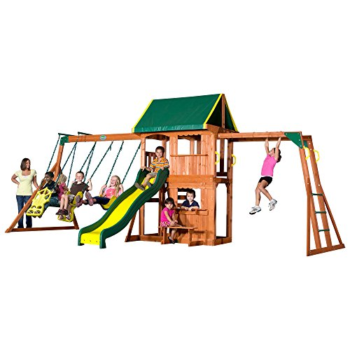 Backyard Discovery Prairie Ridge All Cedar Wood Playset Swing -