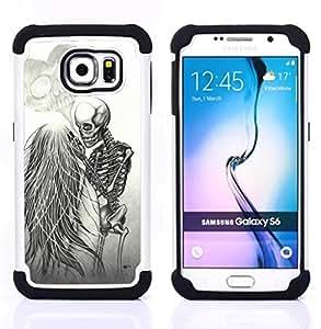 """Pulsar ( Amor Death Metal Esqueleto Cráneo blanco"""" ) Samsung Galaxy S6 / SM-G920 SM-G920 híbrida Heavy Duty Impact pesado deber de protección a los choques caso Carcasa de parachoques"""