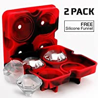 Ice Cube Trays with Lids, Diamond-Shaped Silicone BPA-Free Stackable Easy Release Ice Molds Multifunctional Storage Containers for Ice, Whiskey, Candy and Chocolate by Bella Vino (Red&Black-2Pack)