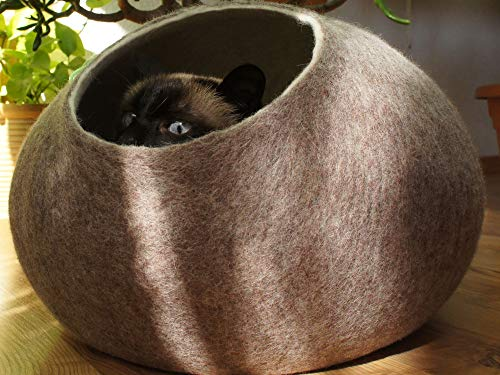 Kivikis Cat House, Bed, Cave. Handmade. Felted. Sheep Wool. XL (Extra Large) for 16-26 pounds cat. Sand Brown. ()