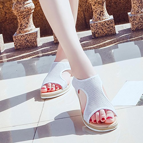 Anti Casual Ankle Shoes Women Mesh Toe Breathable Flat White Heel Open Hollow Sandals Roman Skidding HLHN Beach Rp7tnT6R