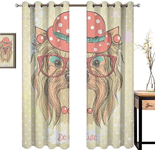 Yorkie for Bedroom Blackout Curtains Be Cute Portrait of an Adorable Dog with Earrings Necklace Glasses Hat Makeup Blackout Curtains for The Living Room W84 x L108 Inch Pale Brown Coral