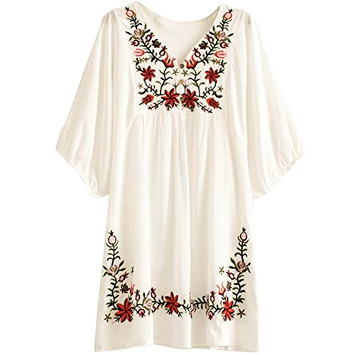 Asher White Mexican Embroidered Peasant Dressy Tops Blouses (One Size, Beige)]()