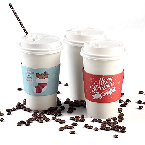Christmas Paper Coffee Cups with Lids (50-Count, White) Disposable Hot & Cold Drinkware w/ Holiday Insulated Sleeves | Santa, Stocking, Reindeer | Party, Tea, Cocoa (Hot Cocoa Cups With Lids)