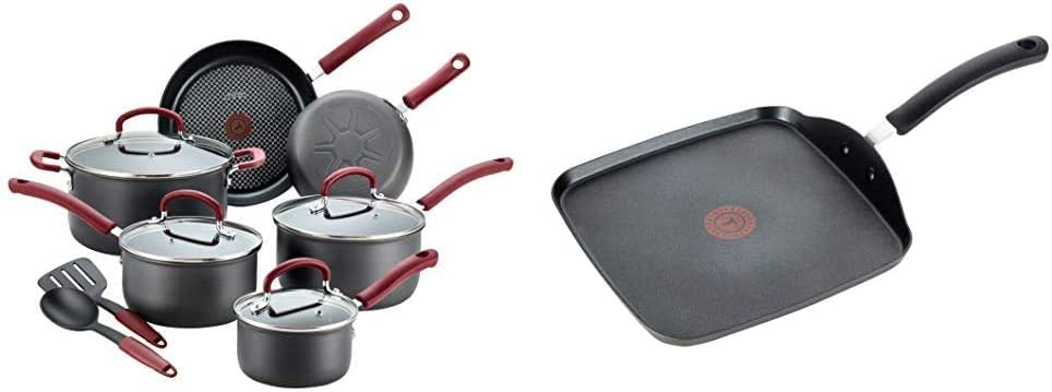 T-fal Ultimate Hard Anodized Dishwasher Safe Nonstick Cookware Set, 12-Piece, Red & Ultimate Hard Anodized, Nonstick 10.25 In. Square Griddle, Black, E76513, 10.25 Inch, Grey