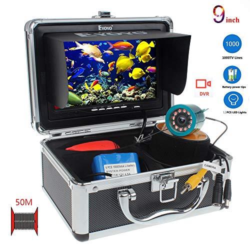 SEXTT Tragbarer Fischfinder, wasserdichte 9-Zoll-HD-Kamera der Kamera 50 Meter Kabel DVR-Rekorder-Akku-Fischfinder-Unterwasserfischerkamera 92-Grad-Drehkamera