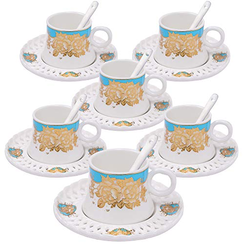 ufengke 4oz Flora Coffee Cup Set,Small Capacity Porcelain Coffee Tea Sets,Set of 6 Ceramic Tea Cup and Saucer-Yellow and Blue