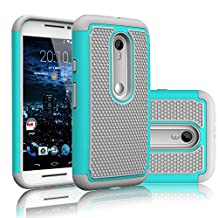 Motorola Moto G G3 3rd Gen XT1540 Rugged Impact Heavy Duty Dual Layer Shock Proof Case Cover Skin - Teal Gray