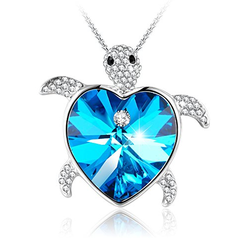 - GEORGE · SMITH Gifts for Mom Caribbean Venus Animal Turtle Pendant Blue Heart Necklace Birthday Jewelry for Wife Grandma, Crystals from Swarovski